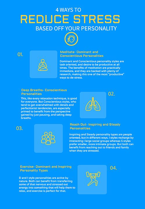 4 ways to reduce stress graphic