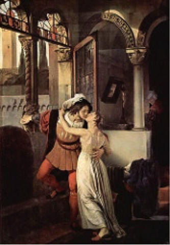 Lovers' balcony scene O, swear not by the moon, th' inconstant moon, That monthly changes in her circle orb, Lest that thy love prove likewise variable. -Juliet admonishing Romeo for implying that his love would be fickle